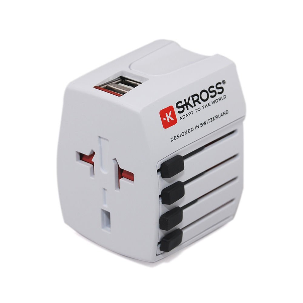 Skross World Travel Adapter MUV USB 2-pole Adapter & USB Charger - White 1.30215