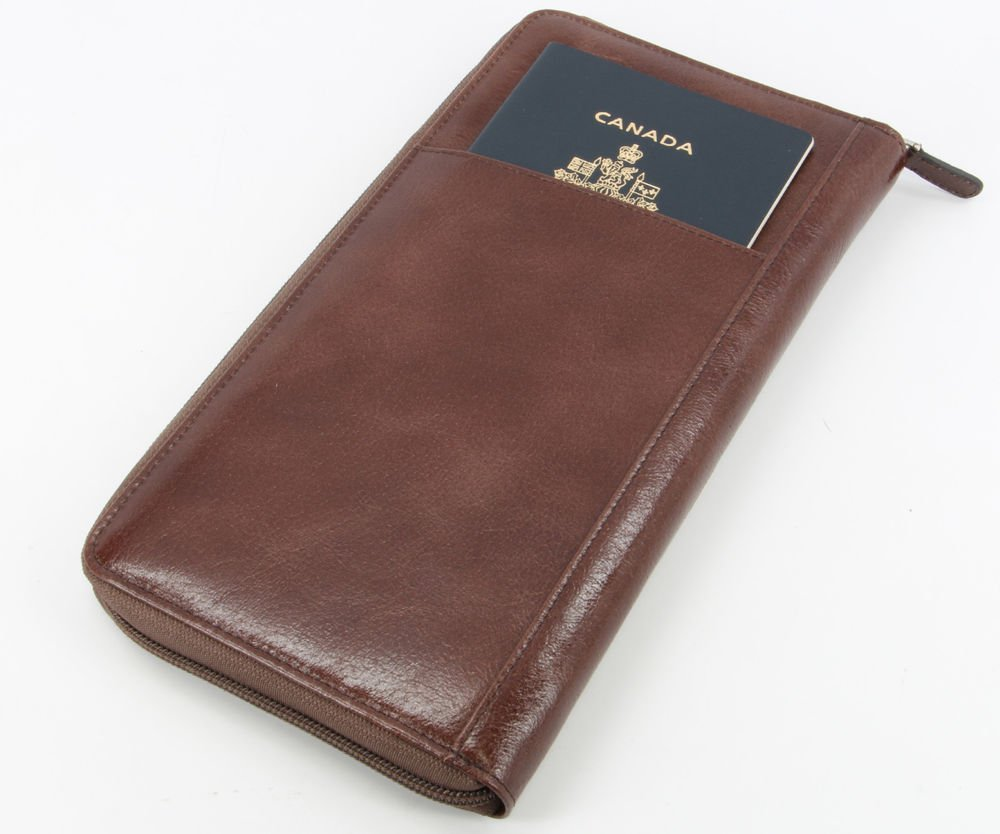 Italian  leather Zip-around Family Passport Credit Card Travel Document Wallet