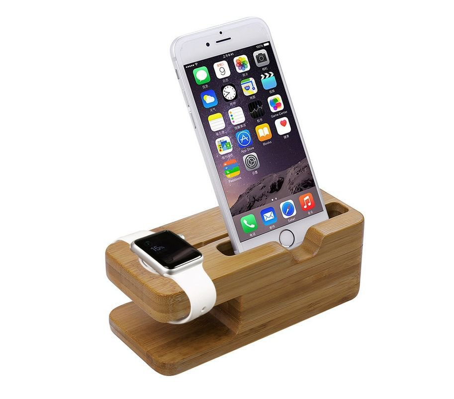 Xtenzi Bamboo Wood Docking Station for Apple Watch & iPhone