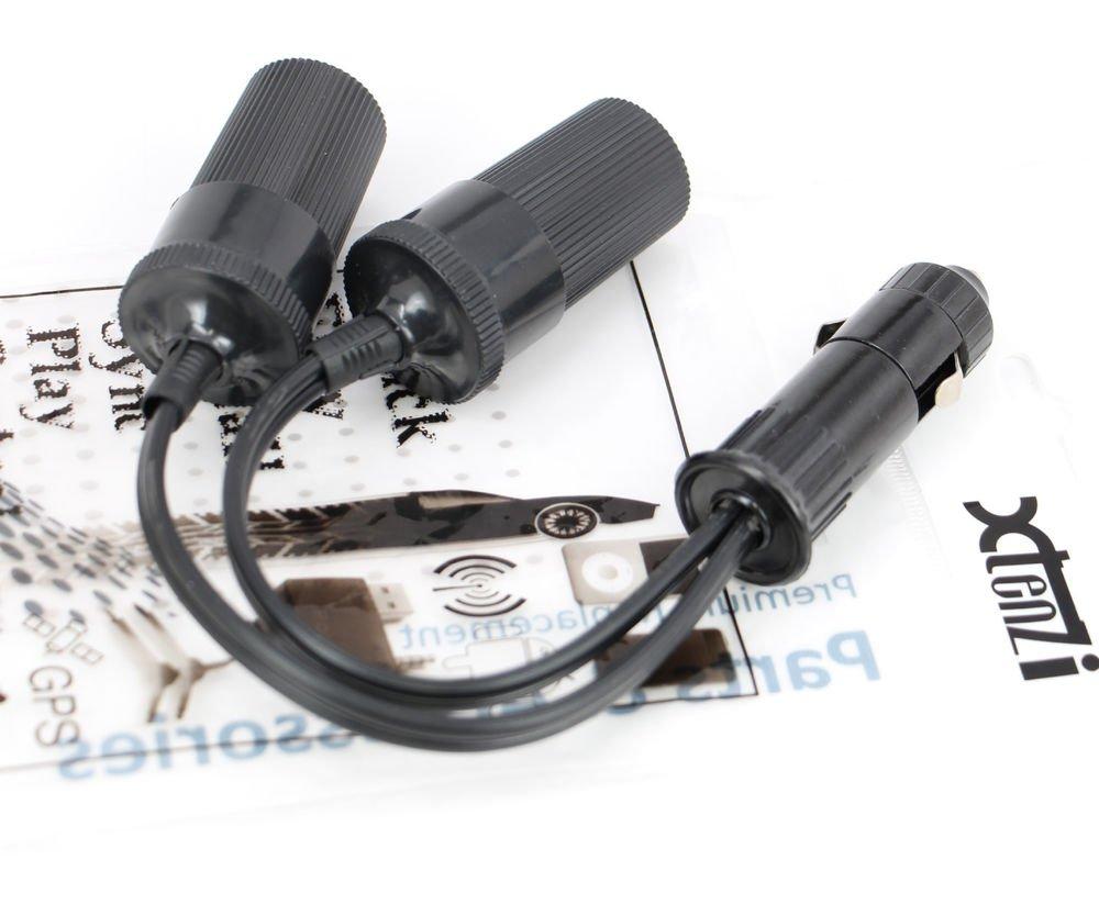 Xtenzi 12V Car Cigarette Lighter Socket Cord 2-Way Double Plug Splitter Y adapte