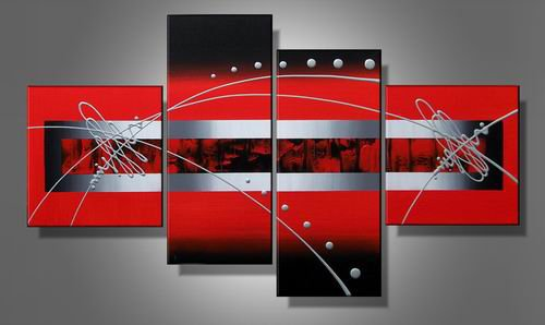 Abstract 100%  Handmade Oil Painting on Canvas Red Sea  Handmade Painting Set of 4pcs