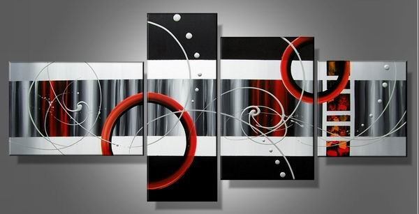 Time Travel -Abstract-handmade painting-set of 4pcs