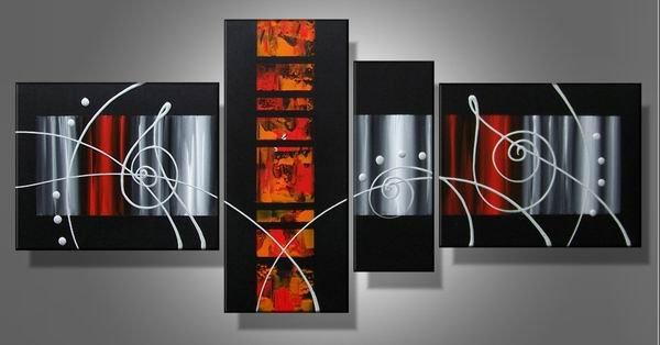 Illusion -Abstract-handmade painting-set of 4pcs