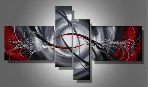 Space Storm -Abstract-handmade painting-set of 4pcs