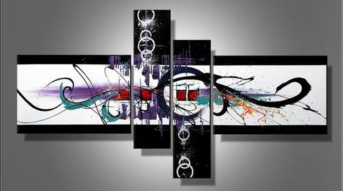 Skylight -Abstract-handmade painting-set of 4pcs