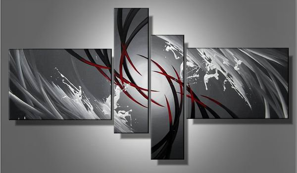 Water-abstract-handmade oil painting-set of 4pcs