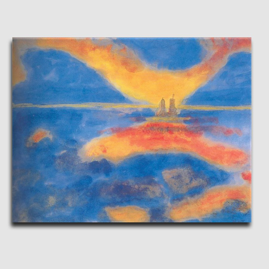 Sunrise-at-the-sea_landscape abstract_handmade oil  painting on canvas_reproduction_Emil Nolde