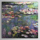 Water Lilies-botanical floral-handmade oil  painting on canvas-reproduction-Claude Monet