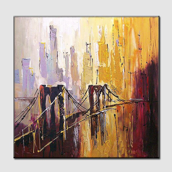 Bridges-landscape-textured oil painting-handmade