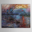 Impression Sunrise-abstract landscape-canvas oil painting-handmade reproduction-Claude Monet