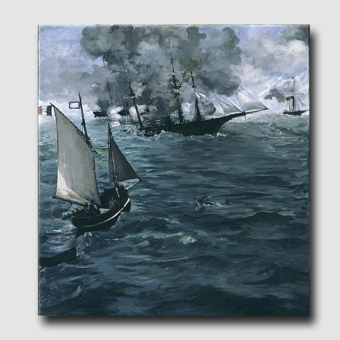 The Battle of the Kearsarge and  Alabama-reproduction-handmade oil painting on canvas-Edouard Manet