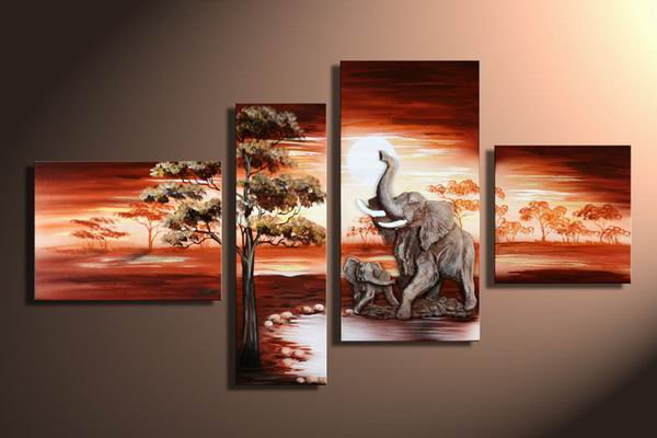 Ivory Coast -Landscape , Botanical , Animal-handmade oil painting-set of 4pcs