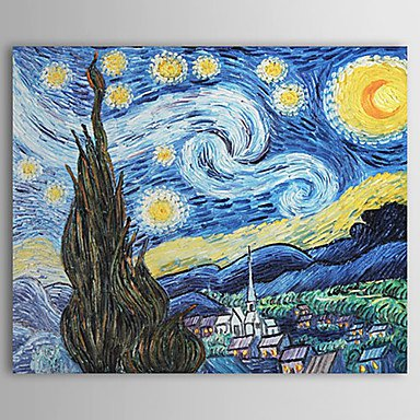 The Starry Night-Oil on canvas oil  paintings-Vincent Van Gogh-reproduction