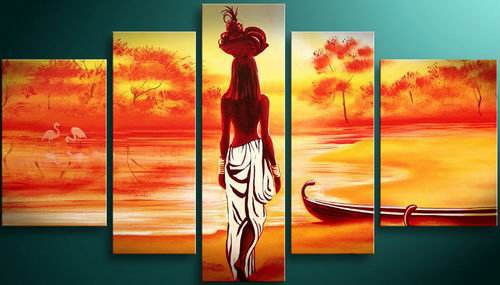 African Girl -People-handmade painting-set of 5pcs