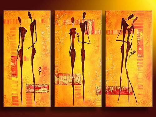 Africa Love -People-handmade oil painting-set of 3pcs