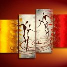 Water Dance -People-handmade oil painting-set of 4pcs