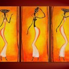 African Beauty -People-handmade painting-set of 3pcs