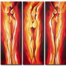 Fire and flames -People-handmade painting-set of 3pcs