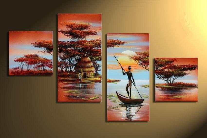 African village -Landscape , People-handmade painting-set of 4pcs