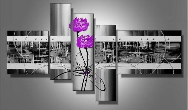 Purple Love -Abstract , Botanical-handmade painting-set of 5pcs