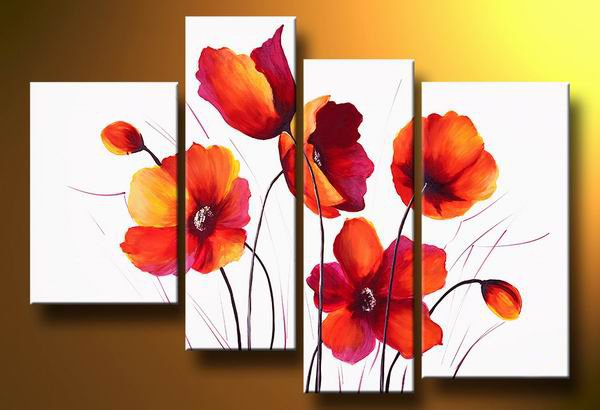 Red poppy flowers meadow -Botanical-handmade painting-set of 4pcs