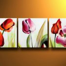 Flowers Beautiful Tulips -Botanical-handmade painting-set of 3pcs
