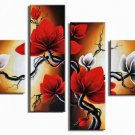 Flowers-Red and White -Botanical-handmade painting-set of 4pcs