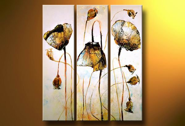 Flowers Gold Poppy -Botanical-handmade painting-set of 3pcs