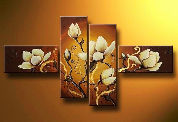 Flowers Warm shades -Botanical-handmade painting-set of 4pcs