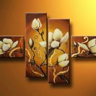 Flowers Warm shades -Botanical-handmade painting-set of 4pcs