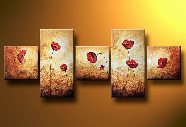 Flowers poppy meadow -Botanical-handmade painting-set of 5pcs