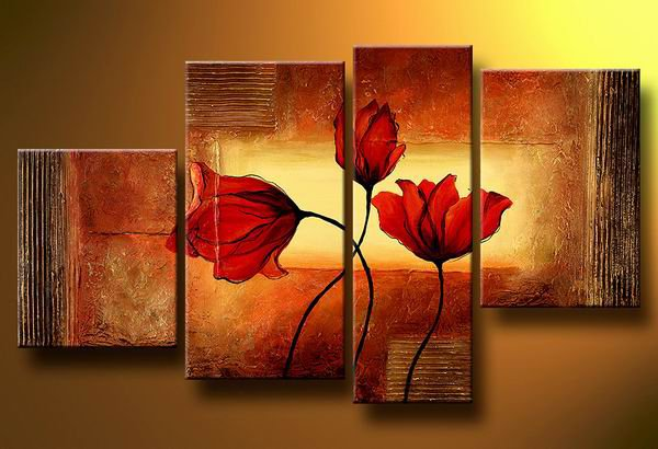 Flowers Poppies in the wind -Botanical-handmade painting-set of 4pcs