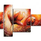 Tulip -Botanical-handmade painting-set of 4pcs