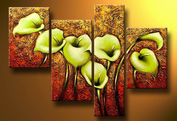 Flowers Green lilies -Botanical-handmade painting-set of 4pcs
