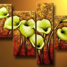 Flowers Green lilies -Botanical-handmade painting-set of 4pcs