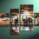 Elephants -Landscape , Botanical , Animal-handmade painting-set of 4pcs
