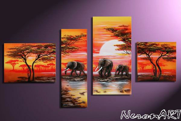 Savannah -Landscape , Botanical , Animal-handmade painting-set of 4pcs