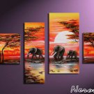 Savannah -Landscape , Botanical , Animal-handmade painting-set of 4pcs