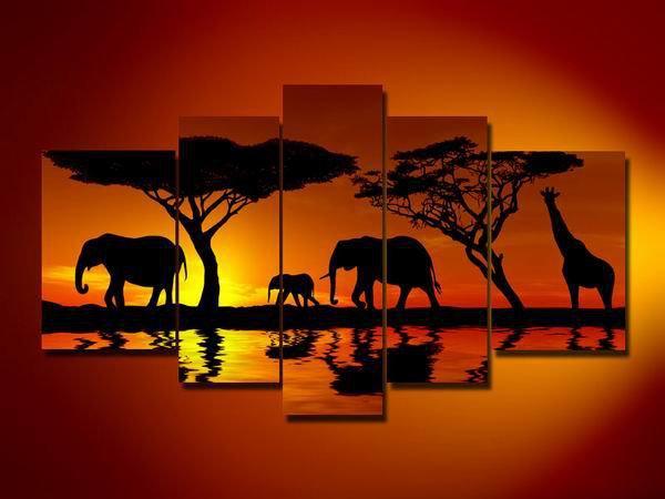 Safari -Landscape , Botanical , Animal-handmade painting-set of 5pcs