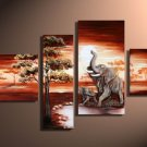 Ivory Coast -Landscape , Botanical , Animal-handmade oil painting-set of 4pcs