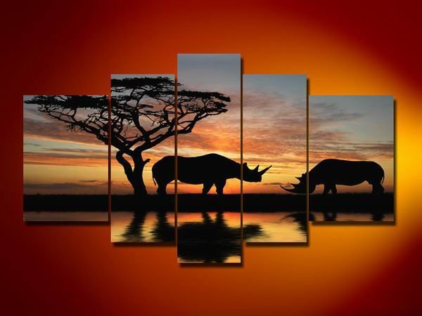 Kenya -Landscape , Botanical , Animal-handmade painting-set of 5pcs