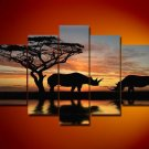 Kenya -Landscape , Botanical , Animal-handmade painting-set of 5pcs