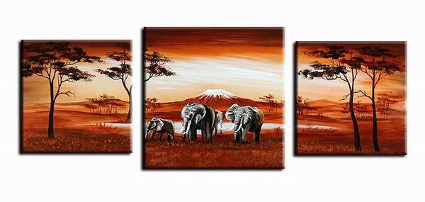 Africa Landscape -Landscape , Botanical , Animal-handmade painting-set of 3pcs