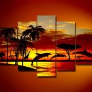 Dolphins at dawn -Landscape , Botanical , Animal-handmade painting-set of 5pcs