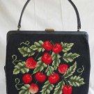 Vintage Needlepoint Handbag Top Handle Purse Bag Black Red Cherries Fruit