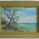 "Vintage Modernist Painting Florida Everglades Mangrove 1968 Grace Jester 5""x7"""