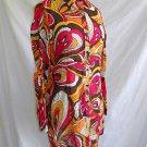 Vintage Chloe Mini Dress Shirt Blouse Empire Print Semi Sheer Tropical Pockets M