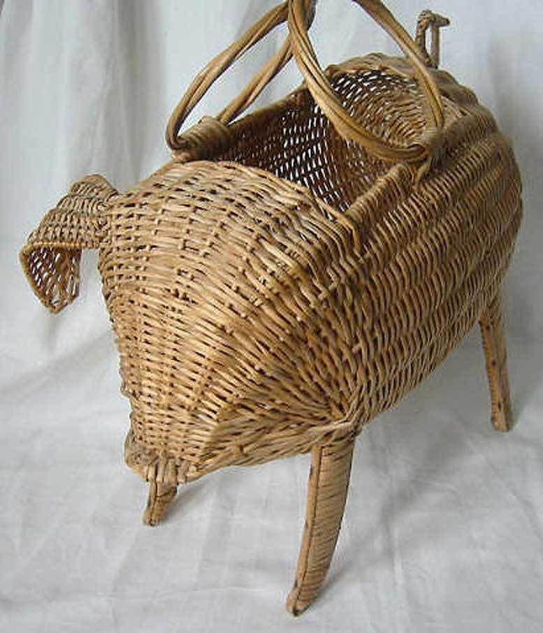 Vintage Tote Figural 1950s Wicker Rattan Basket Pig Hog Bag Handbag Oversize