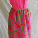 Wasp Waist Maxi Dress Cut Out Halter Dress Vintage 60s Pink Print Nos CRAIG 9