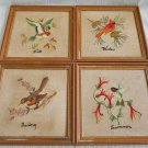 Set 4 Matching Framed Needlepoints The 4 Seasons Vintage Birds Ornithology